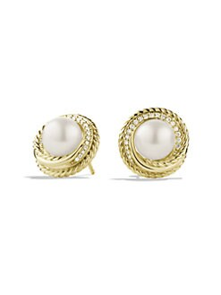 David Yurman - Pearl, Diamond & 18K Gold Button Earrings
