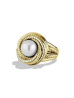 David Yurman - Diamond & Pearl 18K Yellow Gold Ring
