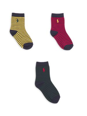 Baby's Three-Pair St. James Striped Crew Socks