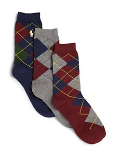Ralph Lauren - Boy's Slack Polo Player Socks 3-Pack <CRLF>
