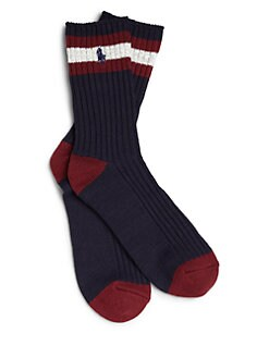 Ralph Lauren - Boy's Rugby Stripe Crew Socks