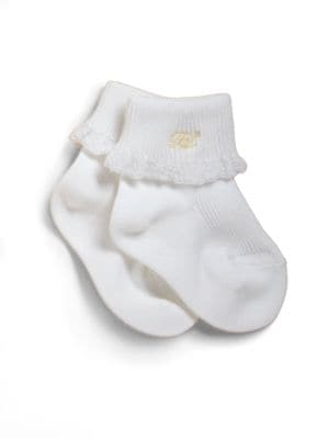 Baby's Lace-Trimmed Cotton Socks