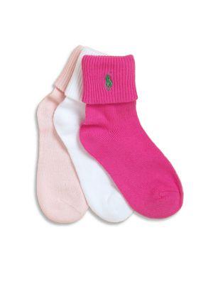 Toddler's & Little Girl's Three-Pair Socks