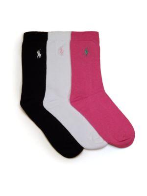 RALPH LAUREN | Girl's Three-Piece Cotton Crew Socks Set | Goxip