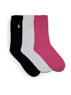 Ralph Lauren - Kid's Cotton Crew Socks/3 Pairs