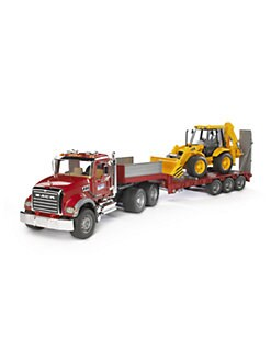Bruder Toys - Mack Granite Flatbed Truck with Low Loader & Backhoe