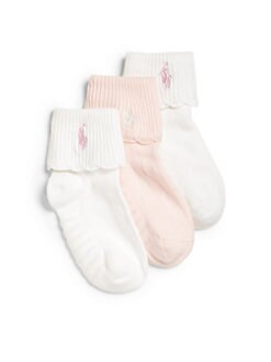Ralph Lauren - Toddler's & Little Girl's Scalloped Socks/3-Pack