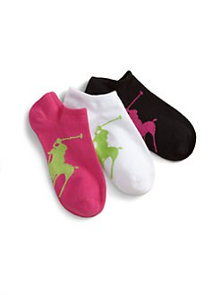 Ralph Lauren - Toddler's & Girl's Big Pony Ankle Socks/3-Pack