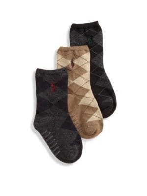 Toddler's Three-Pair Argyle Slack Socks