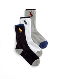 Ralph Lauren - Toddler's & Little Boy's Big Pony Crew Socks/3-Pack