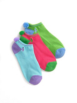 Ralph Lauren - Girl's Pom-Pom Ankle Socks/3-Pack
