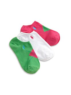 Ralph Lauren - Girl's Argyle Ankle Socks/3-Pack