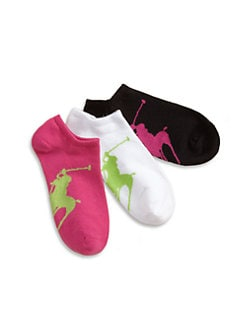 Ralph Lauren - Girl's Big Pony Ankle Socks/3-Pack