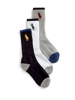 Ralph Lauren - Boy's Big Pony Crew Socks/3-Pack