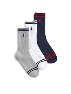 Ralph Lauren - Boy's Striped Crew Socks/3-Pack