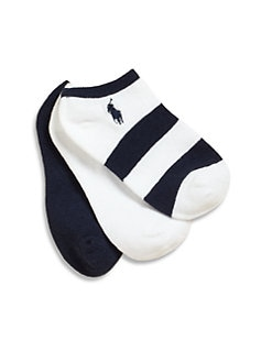 Ralph Lauren - Kid's Striped and Solid Ankle Socks Three Pack