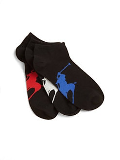 Ralph Lauren - Boy's Big Polo Player Ankle Socks Three-Pack