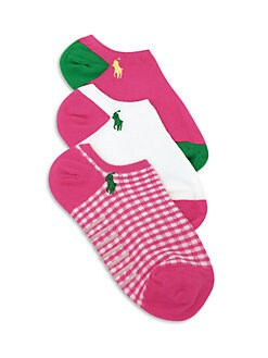 Ralph Lauren - Toddler's & Little Girl's Three-Pair Gingham & Colorblock Ankle Socks