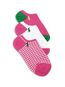 Ralph Lauren - Girl's Three-Pair Gingham & Colorblock Ankle Socks