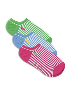 Ralph Lauren - Toddler's & Little Girl's Three-Pair Preppy Striped Ankle Socks