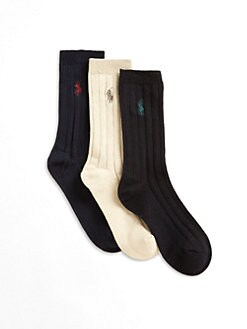 Ralph Lauren - Boy's Slack Ribbed Socks/3-Pack