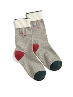 Ralph Lauren - Boy's Monkey Flag Crew Socks