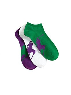 Ralph Lauren - Girl's Polo Player Ankle Socks/3-Pack