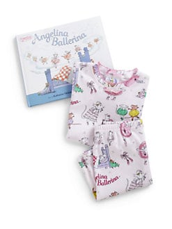 Books To Bed - Toddler's & Little Girl's Three-Piece Angelina Ballerina PJs & Book Set