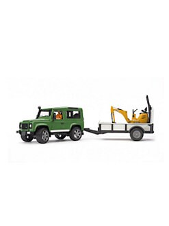 Bruder Toys - Land Rover Defender, Trailer, Micro Excavator & Figurine