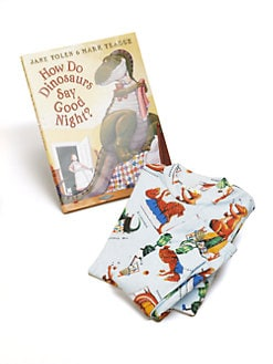 Books To Bed - Infant's Three-Piece How Do Dinosaurs Say Goodnight PJ & Book Set