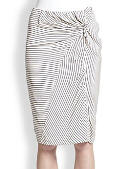 Band of Outsiders - Silk Crepe Knot-Detail Skirt