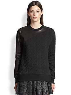 Ohne Titel - Quilted Leather-Trim Sweatshirt