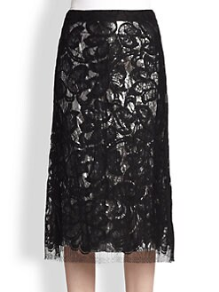 Tome - Lame-Lined Lace Skirt
