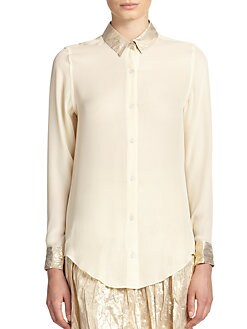 Tome - Lamé-Collar Shirt
