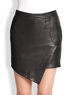 Tess Giberson - Leather-Front Faux Wrap Skirt