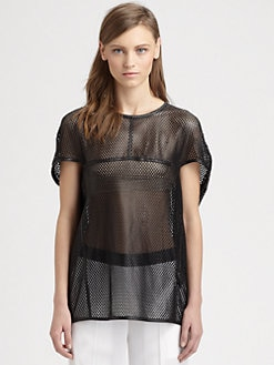 Neil Barrett - Leather Mesh Top