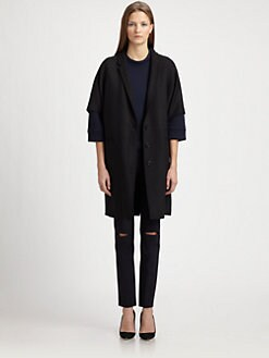 Neil Barrett - Leather-Sleeve Wool Coat