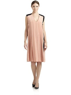Costume National - Pleated V-Neck Silk Dress