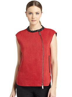 Costume National - Woven Asymmetric Zip Vest