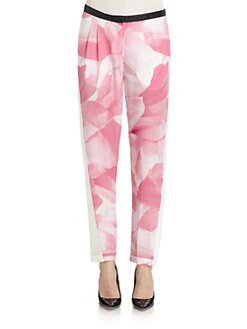 Costume National - Silk Floral Front Pants