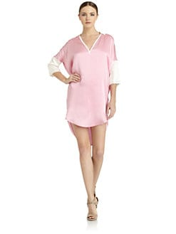 Costume National - Silk Satin Shirt Dress