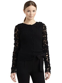Moschino Cheap And Chic - Crochet Sleeve Wool Cardigan