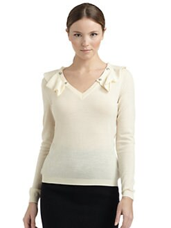 Moschino Cheap And Chic - Wool Snap-On Ruffle-Trimmed Sweater