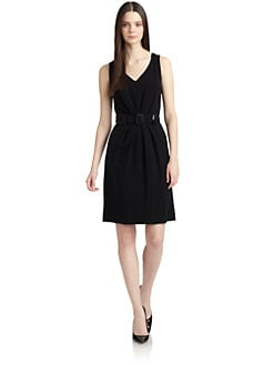 Moschino Cheap And Chic - Belted Sleeveless Crepe Dress