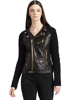 Moschino Cheap And Chic - Leather & Wool Motorcycle Sweater Jacket