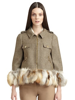 Moschino Cheap And Chic - Fox Trim Wool Herringbone Jacket