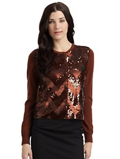 MaxMara - Tirana Wool Sequin-Front Cardigan