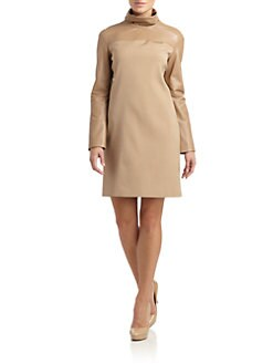 Calvin Klein Collection - Leather Texture Block Turtleneck Dress