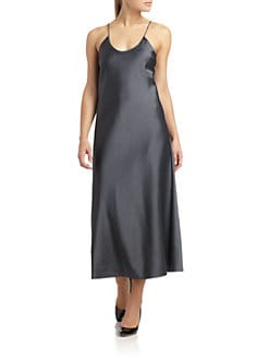 Calvin Klein Collection - Satin Crossback Spaghetti Strap Dress