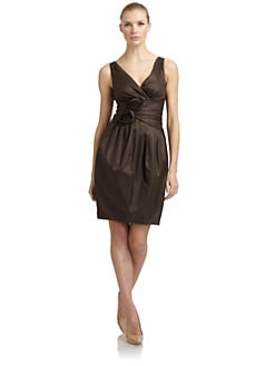 Moschino Cheap And Chic - Silk & Cotton Surplice Mock Wrap Dress